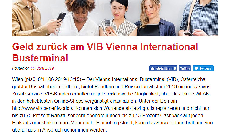 Geld Zurück am VIB Vienna International Busterminal